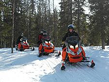 Na een korte instructieles vertrekken we voor een sneeuwscootersafari van 30 km langsheen besneeuwde bossen en bevroren meren